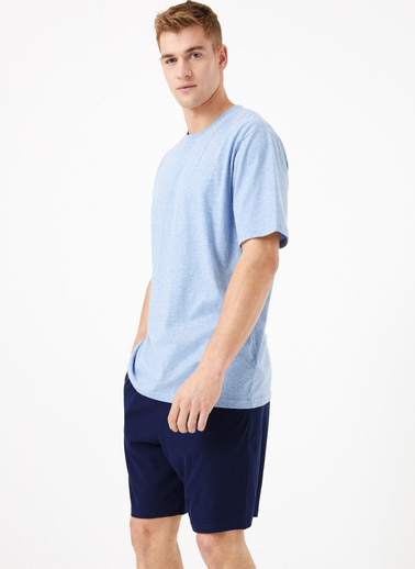 Marks & Spencer Saf Pamuklu Pijama Takımı Mavi
